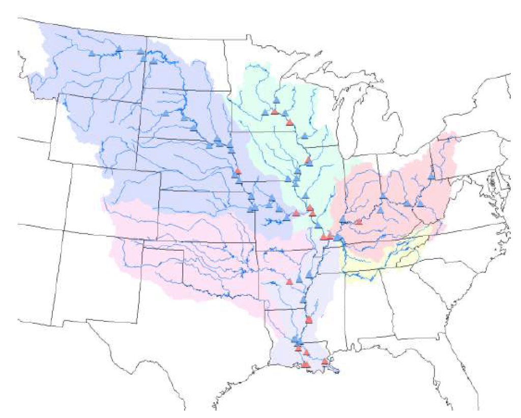 Proposed flow, sediment, and constituent monitoring locations in the Mississippi River Basin, USA.
